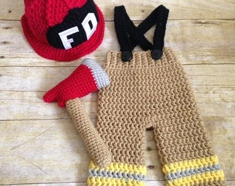 Newborn Fireman Firefighter Costume Prop