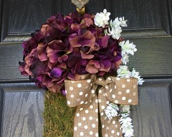 Purple hydrangea chicken wire basket with polka dot bow door hanger - spring summer wreath alternative