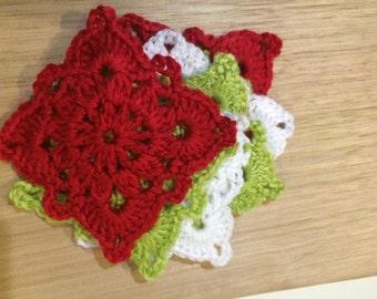 Lacy Christmas crochet coasters