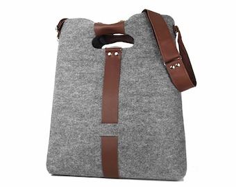 SHOULDER FELT BAG Classic 01 gray felt bag with brown leather and yellow zipper