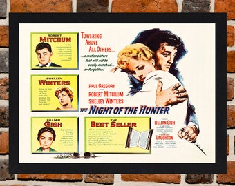 Framed Night Of The Hunter Robert Mitchum Movie / Film Poster A3 Size Mounted In Black Or White Frame