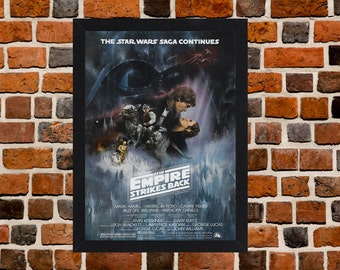 Framed Star Wars The Empire Strikes Back Movie / Film Poster A3 Size Mounted In Black Or White Frame