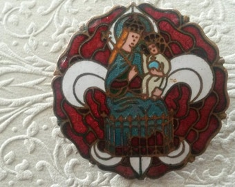 Enamel Religious French Brooch with Fleur de Lis Red Rose & Madonna with Child