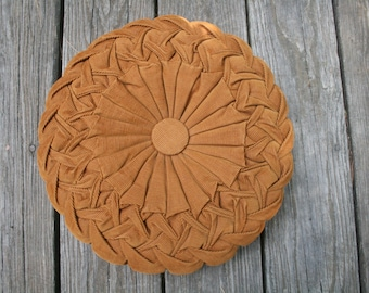 Vintage Brown Corduroy Circle Pillow // Folded Pleated Pillow // 1970s