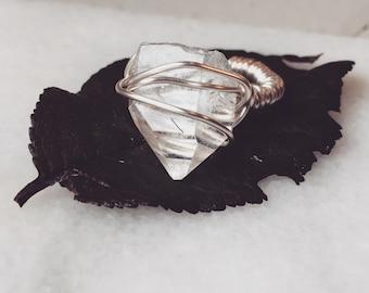 Handmade quartz crystal ring