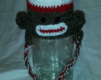 Crochet sock monkey earflap hat
