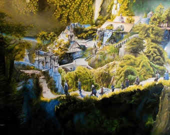 Rivendell - (tribute to the hobbit) Oil Painting on Canvas