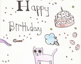 Pastel cat greeting card