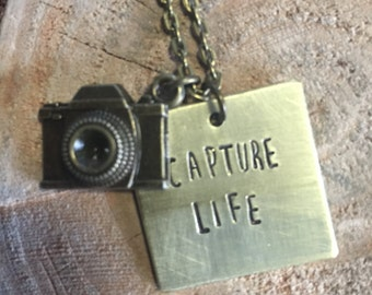 Capture Life Hand Stamped Necklace