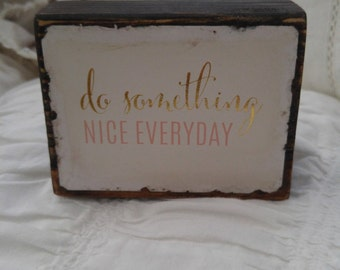 Inspirational quotes wood block art