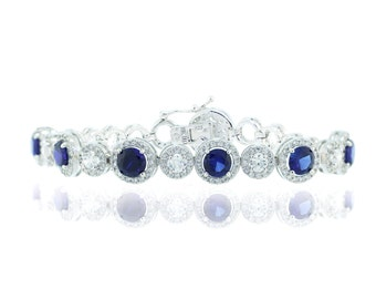 925 Sterling Silver - Sapphire Bracelet with Round CZ (S386)