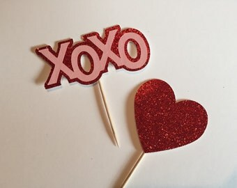 Glitter Valentine's Day Cupcake Toppers