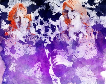 Harry Potter Fred and George Weasley Orange and Purple Watercolor Paint Splatter Art Print Instant Download