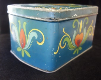 Vintage Tin from Sweden with Flower Pattern