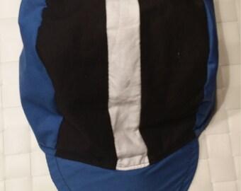 Cycling Cap Blue, Black & White Stripe
