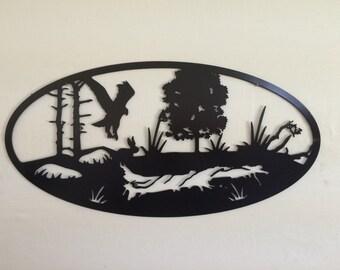 Metal Wall Art Plasma Cut Oval Hawk 2 Black Silhouette Home Decor