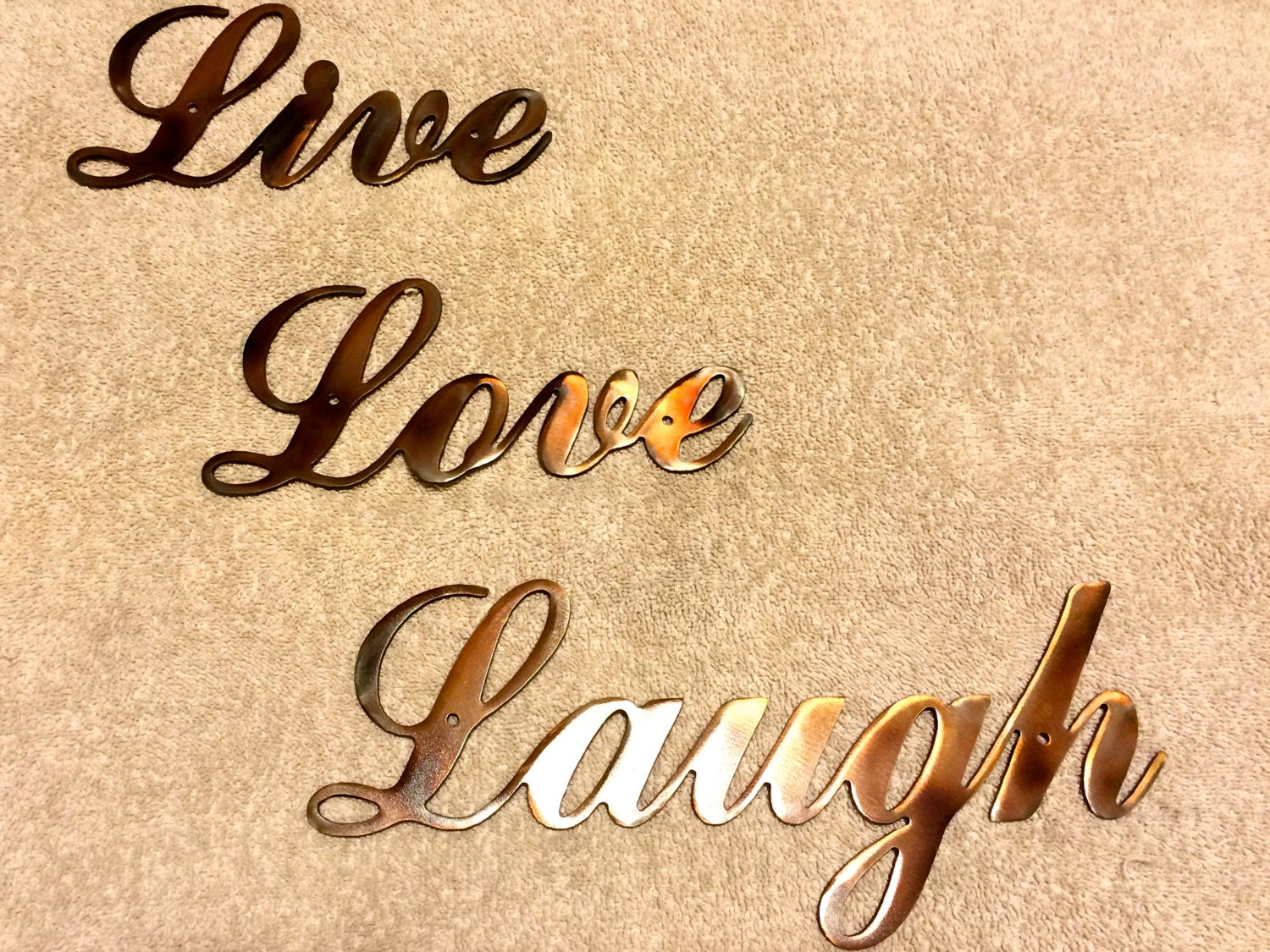 metal wall art plasma cut live love laugh silhouette art home. Black Bedroom Furniture Sets. Home Design Ideas