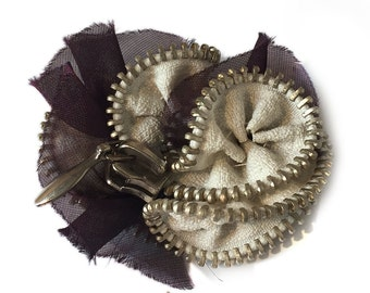 White Handmade Flower Brooche with Vintage Metal Zipper, Leather and Silk Organza