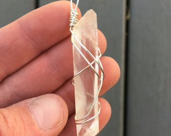 Wire Wrapped Lemurian Quartz Pendant