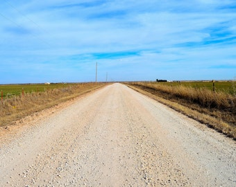 Gravel Dirt Country Road Western Oklahoma Photography
