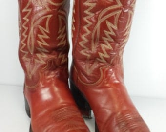 Vintage Justin Men's Western Cowboy Boots Redwood  Pointy Toe Excellent! USA Made Size 9 D