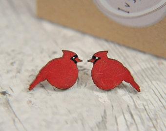 Handpainted Red Cardinal songbird studs