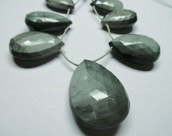 "Super Gorgeous 8"" Strand - Amazing AAAAA++++ High Quality 34x42 MM Size Natural Cats Eye Faceted Pear Briolettes"