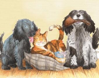 Custom Pet Portrait Illustration, A4 Print