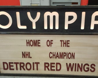 Olympia Stadium Detroit Red Wings Vintage Marquee Style Sign
