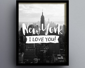 New York I Love You 2, New York Skyline Printable, New York City, Wall Art, Home Decor, City Poster, INSTANT DOWNLOAD DL0002