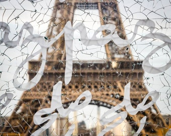 Tour Eiffel, behind the Wall of Piece, Paris France