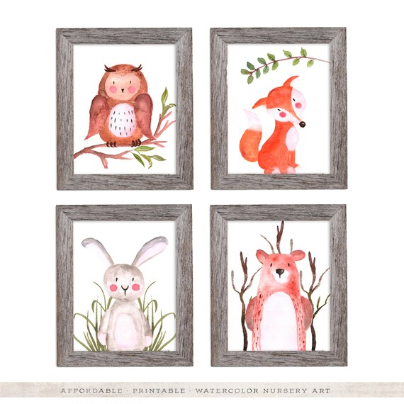 Boy Woodland Nursery Decor Nursery Art Nursery Wall Art Set of 4 Woodland Nursery Art Woodland Boy Animals Nursery Decor Owl Fox