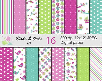 Birds and Owls Digital Paper Set, Scrapbooking papers, Pink Green White Digital papers, Instant Digital Download, Birds Owls Flowers Paper
