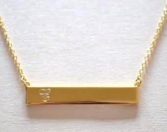Personalized 1-Initial Bar Necklace