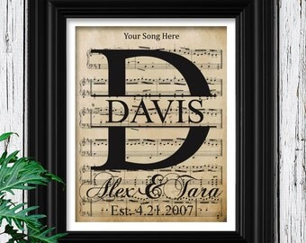 Personalized Sheet Music Art | Wedding Gift Last Name Established | Rustic Velvet Art Print | Gift For Couple | Bridal Shower Decor | A-7