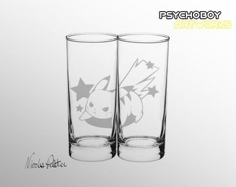 Engraved glass pikachu