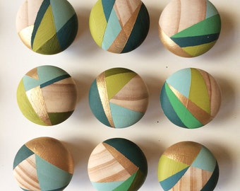Olive. Hand painted colourful door knobs handles (priced per single knob see other listings for bundle options)