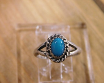 Stunning Sterling Silver Turquoise Ring by D. Whitegoat size 5.25