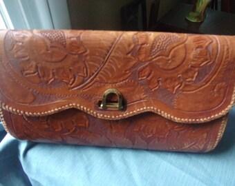 Vintage Engraved Leather Clutch