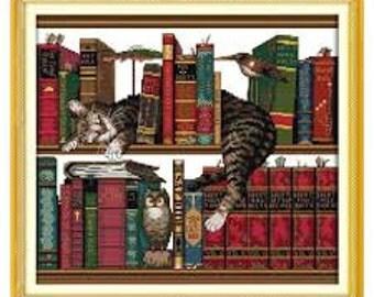 Cross Stitch Unprinted Kit Cat on Bookshelf
