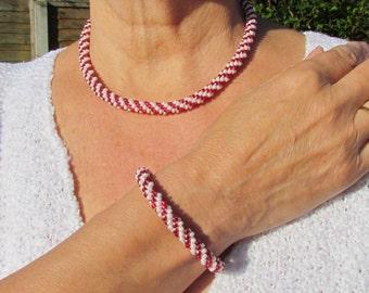 Kumohimo necklace, bracelet and earrings set