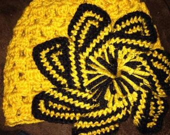 Crocheted Pinwheel Flower Beanie