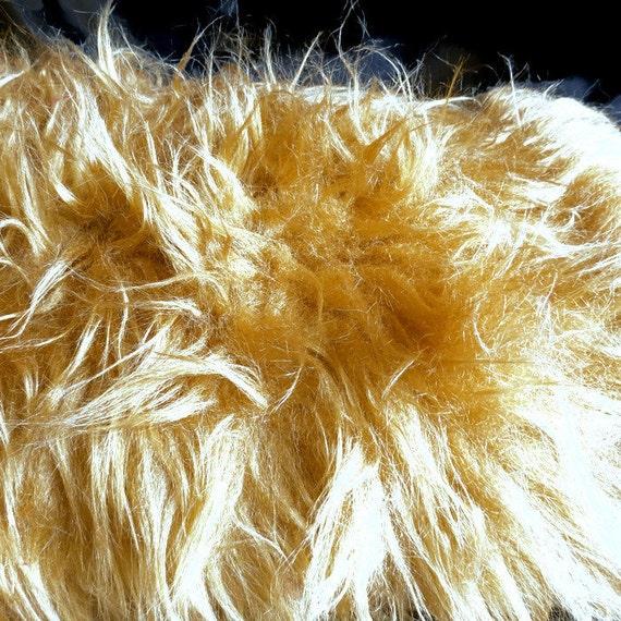 """Faux fur fabric- mongolian tan/golden fur- photo prop - 36"""" x 32"""" - b12"""