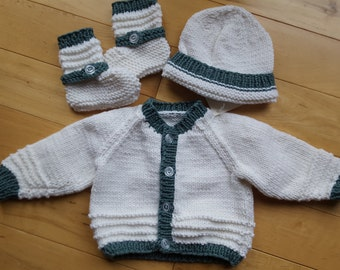 Baby sweater, hat, and booties ( 6 months)