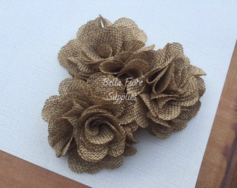 Tan Beige Burlap Flowers, 3 inches, Burlap Flowers, Wedding Supply, Burlap Rose