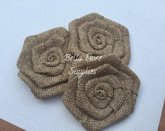 Brown Burlap Rolled Rosette Flowers, 3 inches, Burlap Flowers, Wedding Supply, Burlap Rose