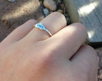 Dainty love sterling silver ring