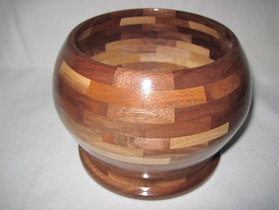 Hand Made Bowl, Large Segmented Walnut Bowl, Hand Made Wood Bowl