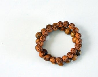 """Men WOOD Beads Bracelet """"Stretch"""" One Size Fit All Two pair"""
