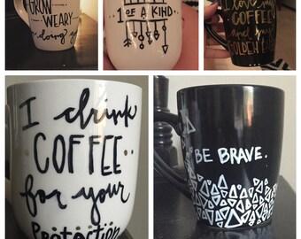 custom hand painted coffee mugs